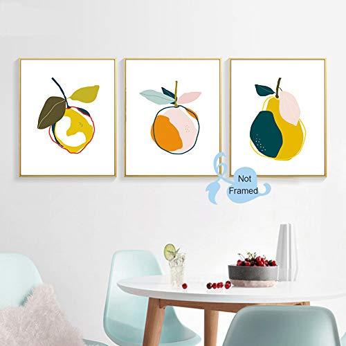 Colorful Fruit Art Print-- Abstract Orange Pear Lemon Botanical Canvas Wall Art