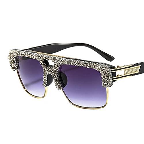 Powzz ornament EUROPA Y EL DIAMANTE DE LOS ESTADOS UNIDOS Gafas de sol de la moda azul de la caja de espejo plano retro gafas de sol para hombres y mujeres-2