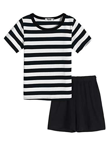 Bricnat Kurzer Schlafanzug Jungen Gestreift 134 Kurzarm Pyjama Kinder 140 Baumwolle Zweiteilig Nachtwäsche T-Shirt und Shorts Shorty Sommer