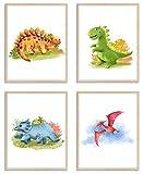 WIETRE® Juego de 4 cuadros de dinosaurios para habitación de bebé, decoración | imagen de niño y niña póster DIN A4 | animales T-Rex (sin marco)