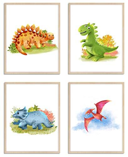 WIETRE® 4er Set Bilder Dinosaurier Kinderzimmer Babyzimmer Deko | Bild Junge Mädchen Poster DIN A4 | Dinos T-Rex Tiere Tierposter Dekoration - ohne Rahmen
