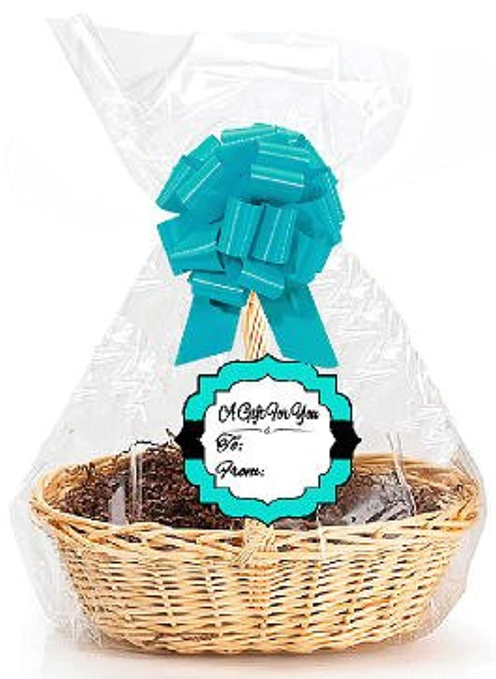 Turquoise 2Pack Designer Cello Bags/Tags/Bows Cellophane Jumbo Gift Basket Packaging Bags Flat 30