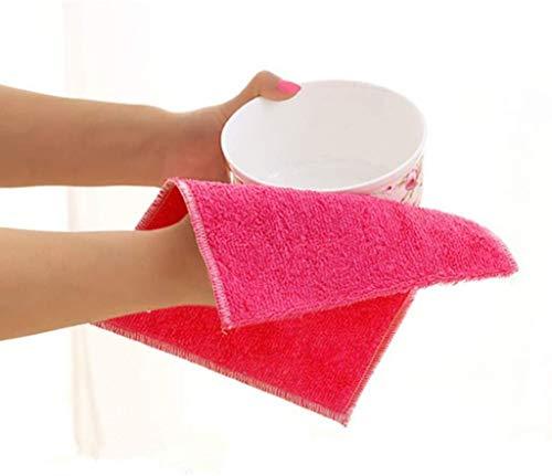 YJLGRYF Tücher Dishcloth Spülküche Werkzeug Antifett- Dish Washing Handtuch Großes Auto Putzlappen Geschirrtuch (Color : Rose Red, Size : 4 pcs)