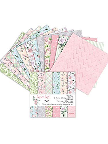 Brillie 24 Blatt Scrapbooking Papier Gemustertes Karton Bastelpapier Mit Vintage Design Für DIY Handwerk Foto Hintergrund Deko, 15x15cm