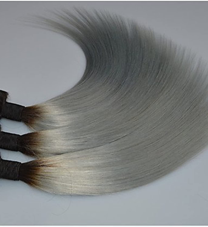 JFF  brasilianisches ombre dunklen Wurzel grau Silber Haarverlngerungen brasilianische gerade graue Bündel 3pcs weben   lot