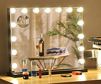 Hansong Large Bluetooth Mirror Vanity Makeup with Lights,Hollywood Lighted Mirror with 3 Color Lighting Modes for Tabletop Mirror & Wall Mounted,15pcs Dimmable Bulbs,USB Outlet and Smart Touch Control