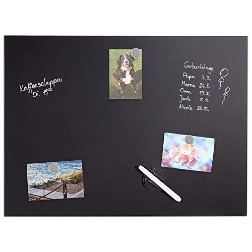 Bakaji Pizarra magnética con superficie de escritura de cristal negro, tablón de anuncios de pared con rotulador borrable y 3 imanes, fácil de instalar en la pared, diseño moderno (80 x 50 cm)
