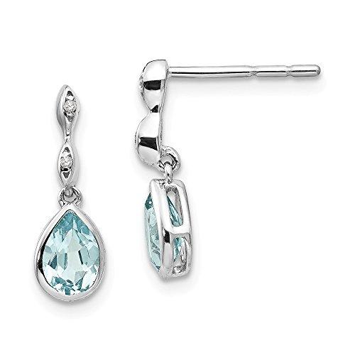 Pendientes de plata de ley 925 con topacio azul hielo y diamantes de 01 quilates de peso, medidas de 16 x 6 mm de ancho, regalos para mujeres