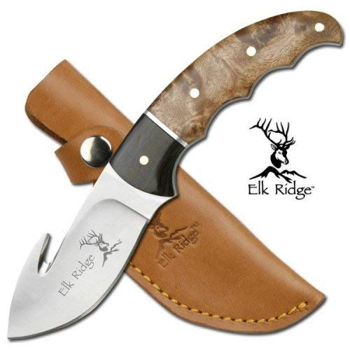 Elk Ridge - Outdoors Fixed Blade Knife - 8.5-in Overall, 3.5-in Stainless Steel Gut Hook Blade, Burl Wood Handle, Genuine Leather Sheath - Hunting, Camping, Survival - ER-129