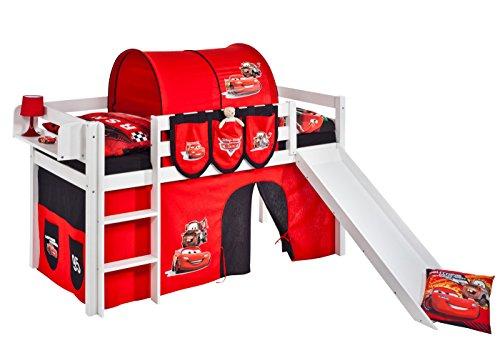 Spielbett JELLE 90 x 190 cm Disney Cars - Hochbett LILOKIDS - weiß - mit Rutsche und Vorhang