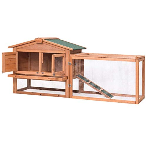 Tangkula Large Chicken Coop Wood Outdoor Garden Backyard Hen House Rabbit Hutch Poultry Small Animal Cage (Natural 62'')