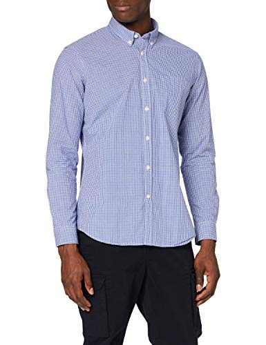Amazon-Marke: MERAKI Herren Hemd Slim Fit mit Vichy-Muster, Blau (Blue), M, Label: M