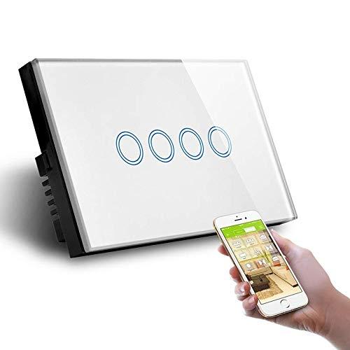 Interruptor Smart Home de 4 posiciones Touch WiFi blanco LKM-SMSWT04W LKM Security cristal templado control LED compatible con Amazon Echo y Google Home