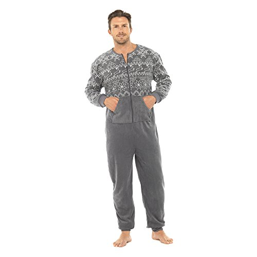adam & eesa New Mens Micro Fleece Fairisle Prined All in One Onesies Onezee Pyjamas Grey M/L