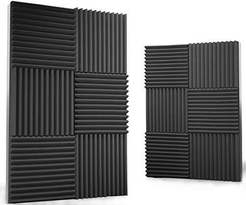 12 Pack Acoustic Panels 1 X 12 X 12 Inches - Acoustic Foam - Studio Foam Wedges - High Density Panels - Soundproof Wedges - Charcoal