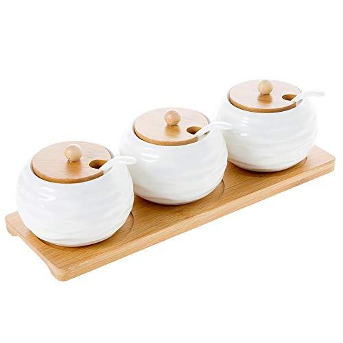 SMEJS 1 Set Keramik Gewürz Vorratsglas Haushaltsgewürz Topf Bambus Tablett Gewürzglas Sojasauce Box Salz Zuckerdose Küchenorganisator