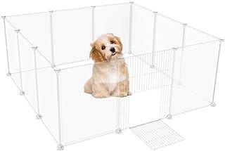 Petbobi ペットフェンス 12枚セット(35*45cm)半透明パネル ペットサークル 組み立て 脱走防止フェンス 小型犬 猫 持ち運び便利