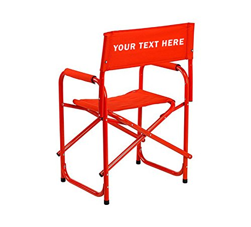 "PERSONALIZED IMPRINTED All Aluminum 18"" Standard Directors Chair by E-Z Up - Red"