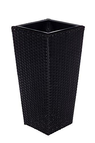 Geflecht-Pflanzsäule SDH17145 A- Schwarz Pflanzkübel Pflanzgefäße Blumenkübel Blumentopf für Blumen Polyrattan inkl Zinksätze für innen und außen, Schwarz