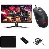 AOC Monitor Gaming U28G2AE- 28' UHD, 60Hz, 1ms, IPS, Adaptive Sync, 3840x2160, 300cd/m, HDMI 2x2.0, Displayport 1x1.4 + Ratón de Gaming + Auriculares + Teclado + Alfombrilla para ratón