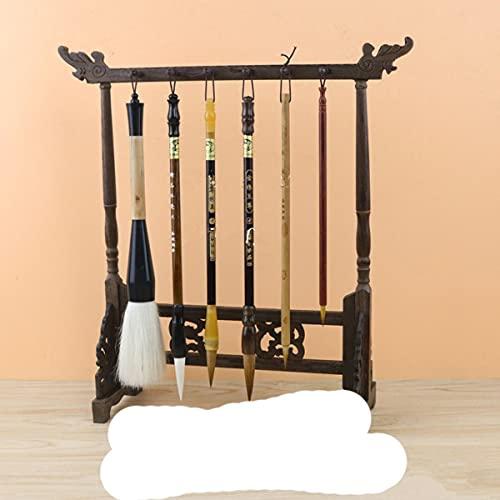 Soporte de cepillo chino tradicional para caligrafía, soporte de 12 ganchos de madera con alas de pollo, soporte para cepillos colgantes