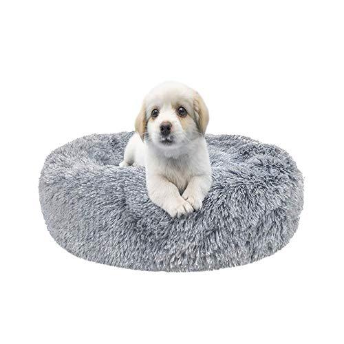 XIAQIU Hundebett rund Haustierbett Rundes Plüsch, Katzenbett rund Hundekissen Hundesofa Katzenbett Donut, Welpen Warme Weiche Bequeme Hundesofa für Kleine Hunde