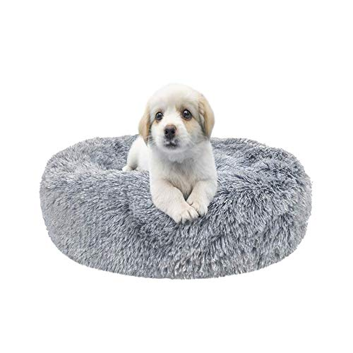 XIAQIU Plush Donut Pet Bed, Dog Cat Round Calming Dog Bed Fluffy Cushion Cuddle Cozy Pet Nest Sofa Round Bed Sleeping Nest For Small Medium Dogs Cats Kitten Puppy Non-Slip Bottom (Ø 70 cm, Grey)