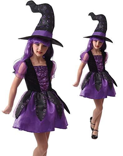 Magicoo octopus heks hexenpak kinderen heksenjurk meisjes incl hoed. (134/140)