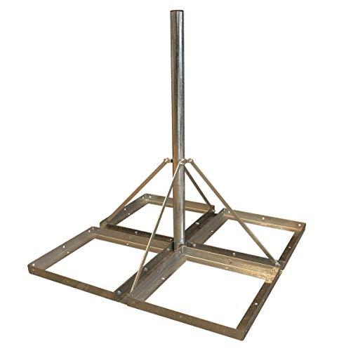 PremiumX Deluxe Sat Balkonständer 4X 50x50cm Stahl 1,20m Mast 60mm Plattenständer Flachdach-Ständer für Satellitenschüssel