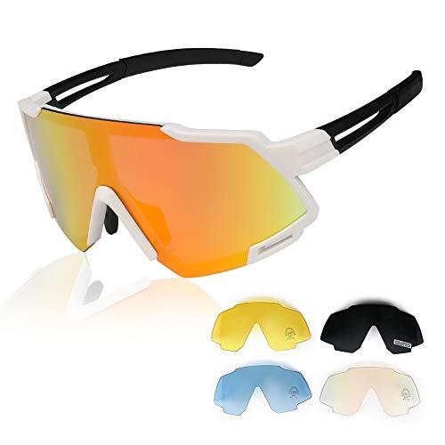 GARDOM Gafas de Ciclismo Hombres Mujeres, Gafas de Sol Deportivas con 5 Lentes Intercambiable para Correr Pescar Escalar Esquiar Vacaciones (Blanco)