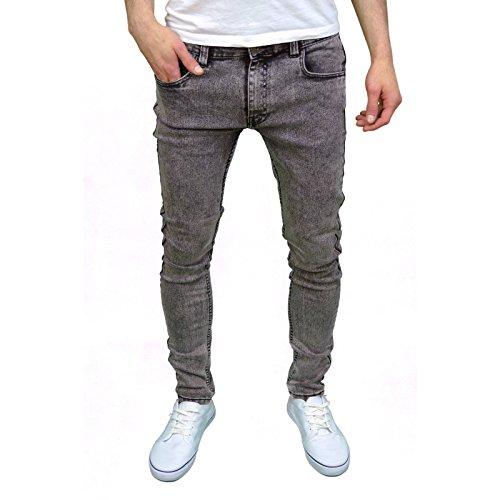 Soulstar Mens Boys Skinny Stretch Acid Snow Wash Jeans (26W x 32L, Black Snow)
