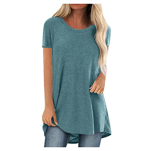 T-Shirt for Women Casual Short Sleeved Long Tee Over Size Tops Summer Tunic Round Neck Blouse Blue