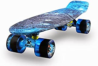 Skateboards Complete Mini Cruiser Retro Skateboard for Kids Boys Youths Beginners 22 Inch(The Starry Sky)