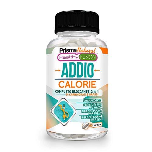 ADDIO CALORIE - Completo bloccante 2 in 1 di grassi e carboidrati - Con Sugarlock per bloccare l'assorbimento degli zuccheri - Dimagrire senza sforzo - Perde peso in modo efficace e sano - 60 capsule