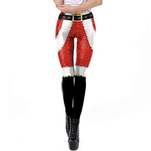 Yoga Leggings Damen, Teenager Mädchen Weihnachten Ugly Bunt Hirsch Rentier Push Up Yoga Hosen Elch Weihnachtsmann Leggins High Waist Einhorn Sportleggins Jogginghose Training Fitness Pant (SKDK095,S)