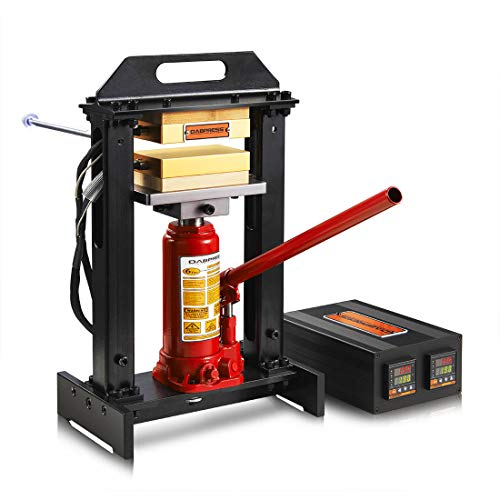 6 Ton Hydraulic Bottle Jack Heat Press Kit - Dual 3x5 Inch Anodized Heated Platens - A Complete Heated Press Machine