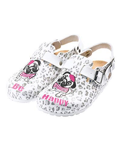 CLINIC DRESS Clog - Clogs Damen bunt weiß Motiv. Schuhe für Krankenschwestern, Ärzte oder Pflegekräfte weiß/grau/pink, Hund 39