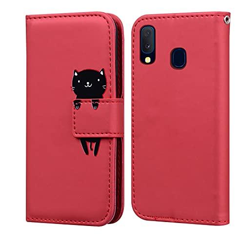 Custodia Samsung Galaxy A20E, LUCASI Galaxy A20E Simpatico Cartone Animato Cover in Pelle, Supporto Stand, con Magnetica a Scatto, Flip Wallet Case, per Samsung A20E, Rosso