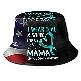 DJNGN Uso Verde Azulado y Blanco para mi mamá Sombrero de Cubo para cáncer de Cuello uterino Sombrero de Sol Unisex Sombreros de Pescador Plegables de Verano
