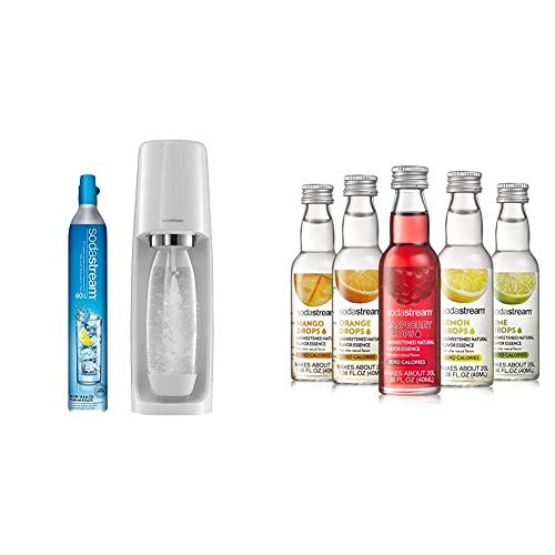 SodaStream Fizzi Sparkling Water Maker, 5.5 x 8 x 17.5 inches, White & Fruit Drops Variety Pack, 1.67 Pound