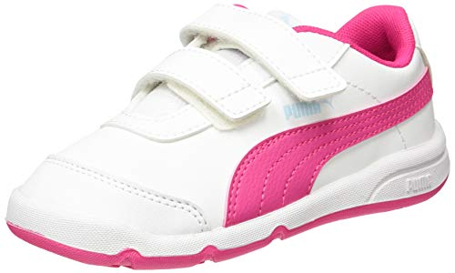 PUMA Unisex Baby Stepfleex 2 Sl Ve V Inf Sneaker, White-Glowing Pink-Omphalodes-Beetroot Purple, 27 EU