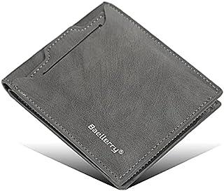 محفظة بايليري جلد صناعي للرجال مع جيب خارجي بكراتة - رمادي