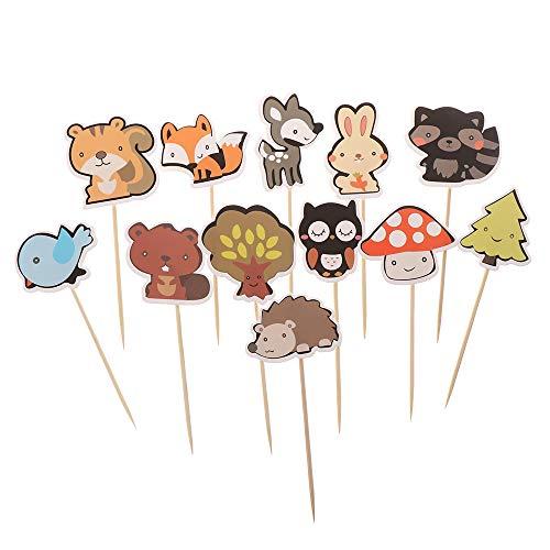 Citroen-Land Kids Kleine Jungle Dier Model Baby Verjaardagsfeestje Decoraties Bos Wezens Theam Cupcake Topper Bos Dierlijke Vorm Taart Toppers 1-12pcs