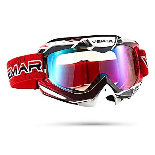 Galatée Serie di strisce sportive di moda Moto Motocicletta/ATV/Cross/Sci da Corsa Equitazione Ciclismo Occhiali Esterno Sciare Vento-Prova Anti-Nebbia Anti-UV (Rosso + strisce)
