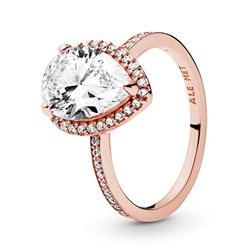 Pandora Jewelry Sparkling Teardrop Halo Cubic Zirconia Ring in Pandora Rose, Size 7