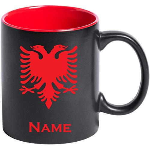 aina Tasse Kaffeetasse Albanien Albania Flagge mit Namen Bedruckt