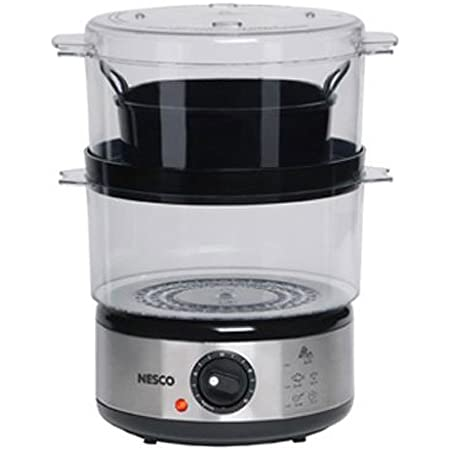 Nesco ST-25F, Food Steamer, 5 quart, 400 watts, Black/Clear