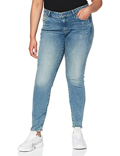 G-STAR RAW Damen Jeans Midge Zip Mid Waist Skinny, Blau (Lt Vintage Aged Destroy 8968-9114), 28W / 30L