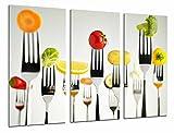 Cuadro fotográfico cocina restaurante, tenedores fruta verdura, multicolor tamaño total: 97 x 62 cm xxl