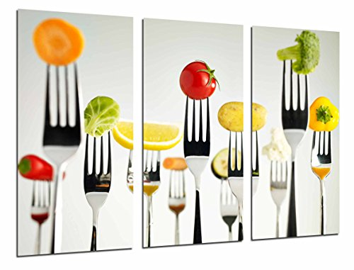 Quadro fotografico, per cucina, ristorante, con forchette, frutta, verdura, multicolore. Dimensioni totali: 97 x 62 cm (XXL)